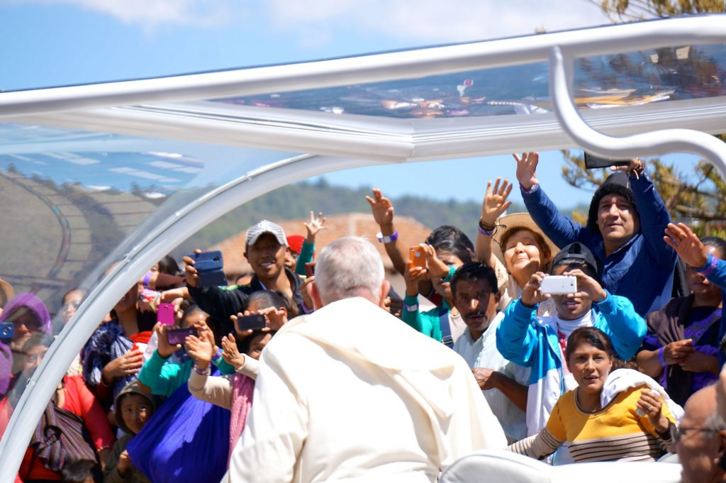 The Pope Francis turns his back as he address the street crowds in San Cristobal de las Casas, Chiapas, Mexico
