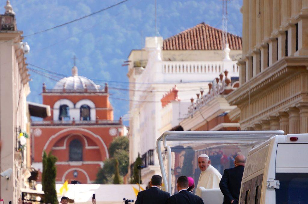 Pope Francis departs the Cathedral in San Cristobal de las Casas, Chiapas, Mexico