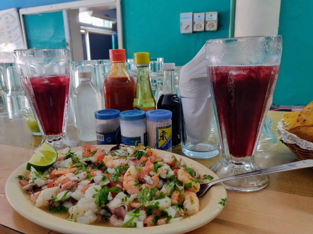 ceviche at marlin azul seafood restaurant in Merida