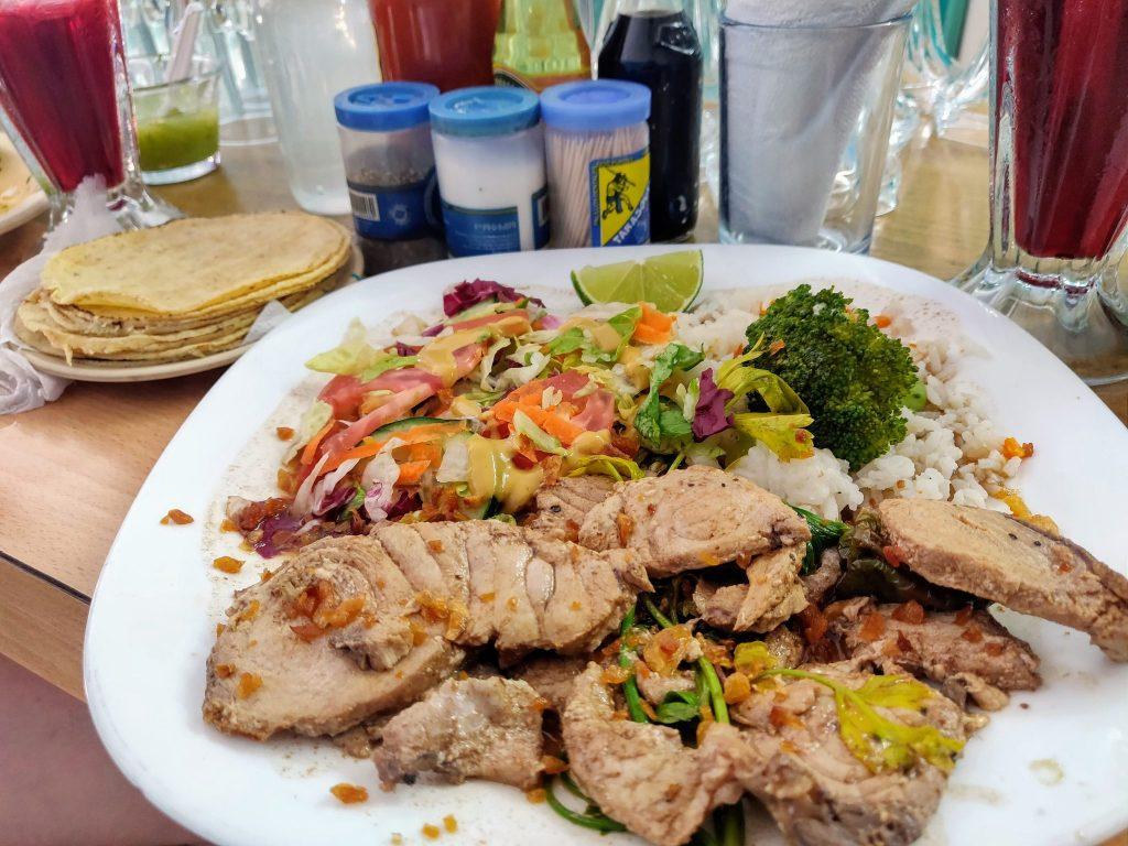 blue marlin meal at Marlin Azul in Merida Mexico