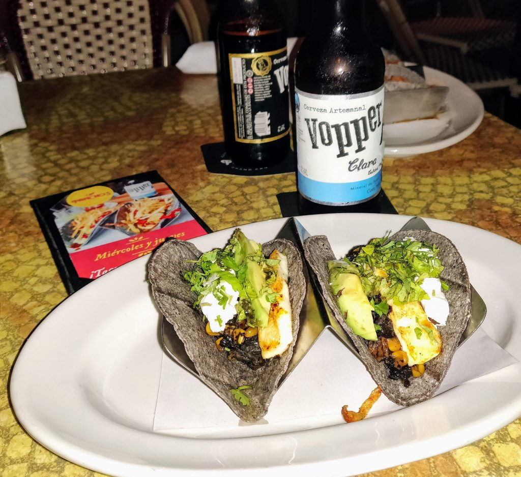 tacos at Pancho's Merida with Vopper beer