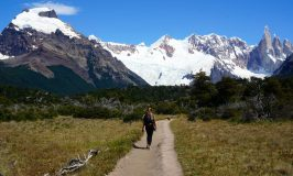 hiking on a trail in patagonia argentina towards the fitz roy mountain