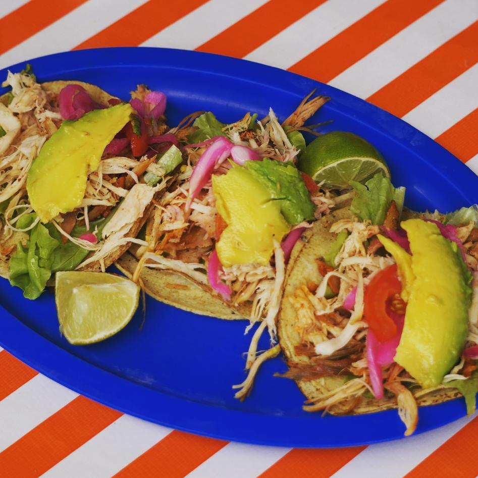 turkey tacos at a restaurant in Merida in Parque Santiago