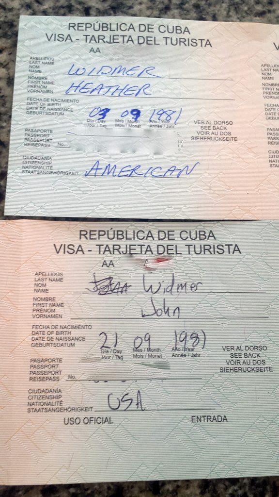 Cuba Tourist Card (Cuba Visa) with errors