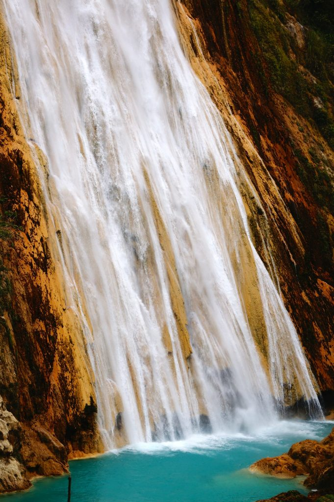Velo de Novia waterfall is part of the El Chiflon Waterfalls in Chiapas Mexico which we think is one of the best things to do in San Cristobal de las Casas