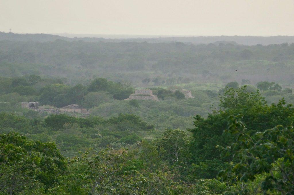 Aerial view of Oxkintok ruins