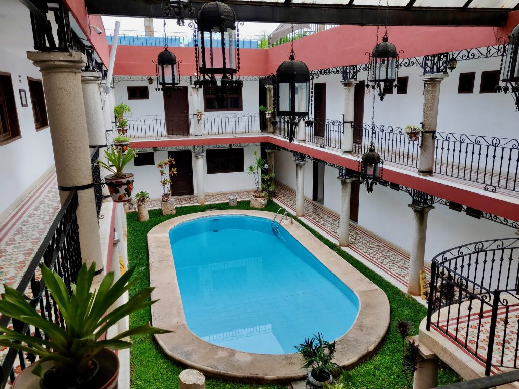 pool and courtyard of Colonial la Aurora Hotel in Valladolid Mexico