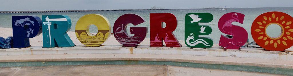 Colorful Progreso sign to this beach near Merida Mexico