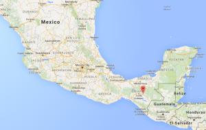 Mexico map showing the location of San Cristobal de las Casas Mexico
