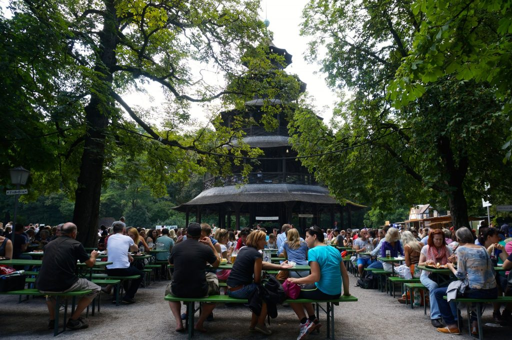 Going to Englischer Garten Munich is a free thing to do to in Munich to escape the Oktoberfest crowds and enjoy a beer at Chinesischer Turm instead