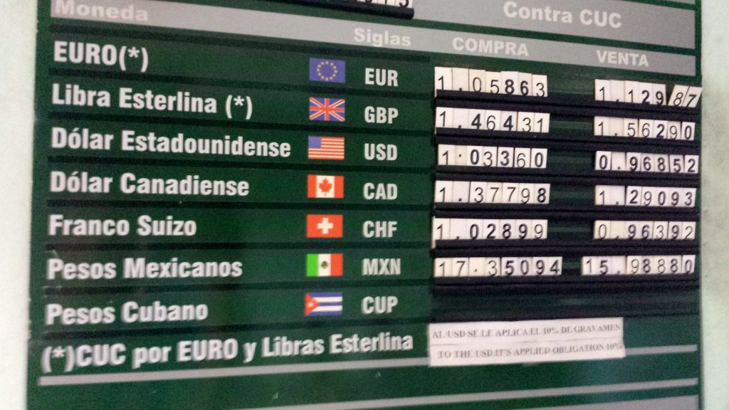 Havana currency exchange rate to US dollar, Euro, British Pound, and Mexican Peso as seen at a bank in December 2015