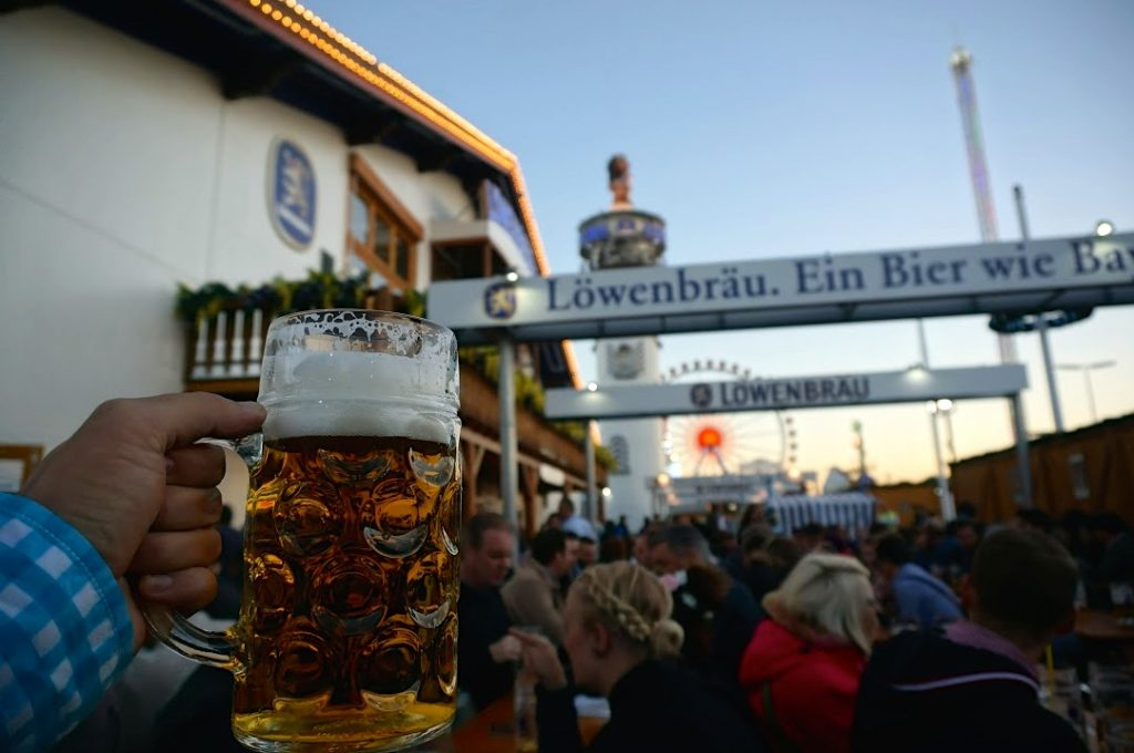 receiving a lowenbrau liter of beer, which costs 10.30 euro and is a great way to enjoy Oktoberfest on a budget