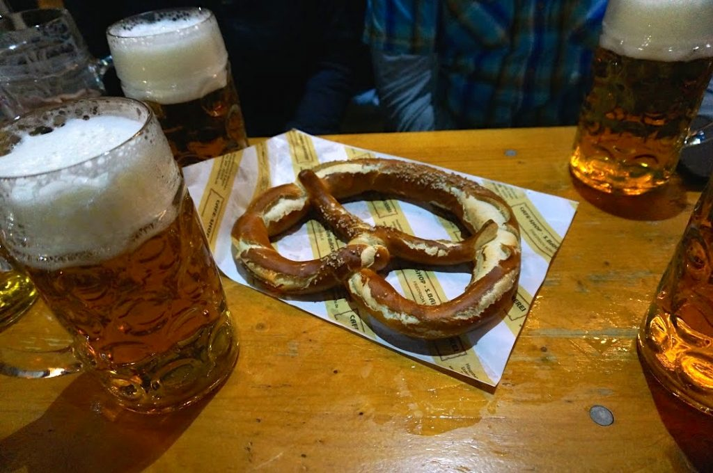 Pretzel prices at Oktoberfest are less expensive outside the beer halls