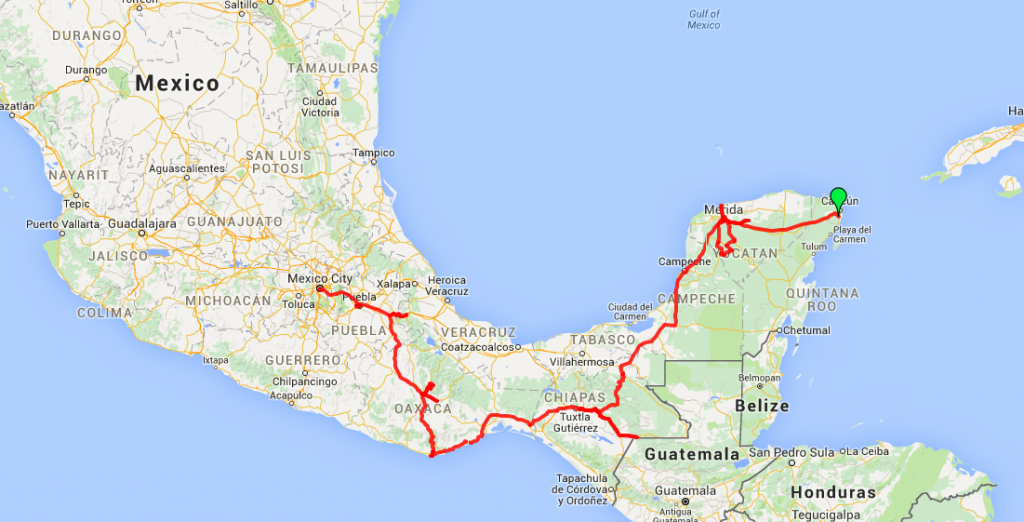 Four Month Mexico Itinerary from Cancun to Merida to San Cristobal de las Casas to Oaxaca to Puebla to Mexico City by bus