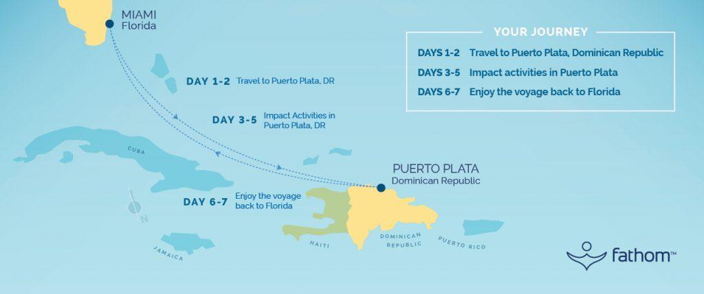 Fathom Adonia Miami to Dominican Republic route map