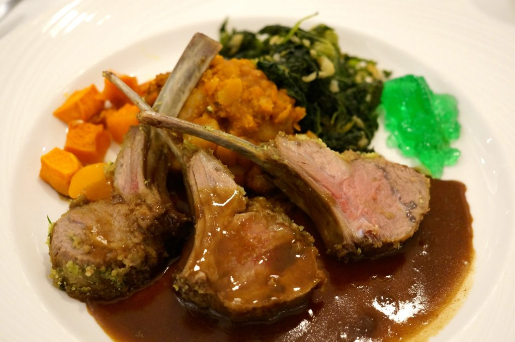 Rack of lamb was often on the Fathom Adonia menu