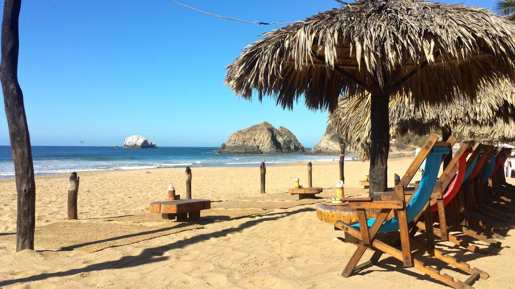 A beachfront restaurant on Zipolite beach on the coast of Oaxaca Mexico