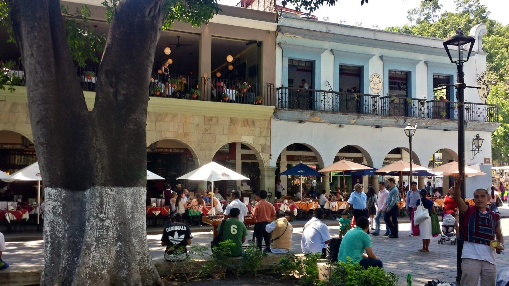 The balconies of restaurants such as TR3S 3ISTRO overlooking the Oaxaca Zocalo