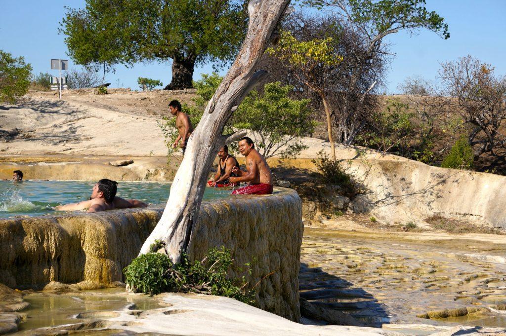 A swimming pool atop the petrified waterfall of Hierve de Agua near Oaxaca