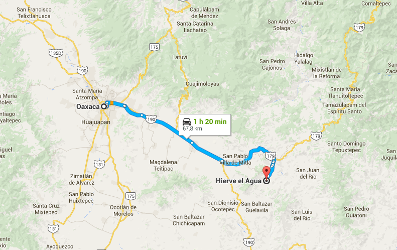 Directions from Oaxaca to Hierve de agua which can be reached by bus (public transportation), by car, by taxi or by tour