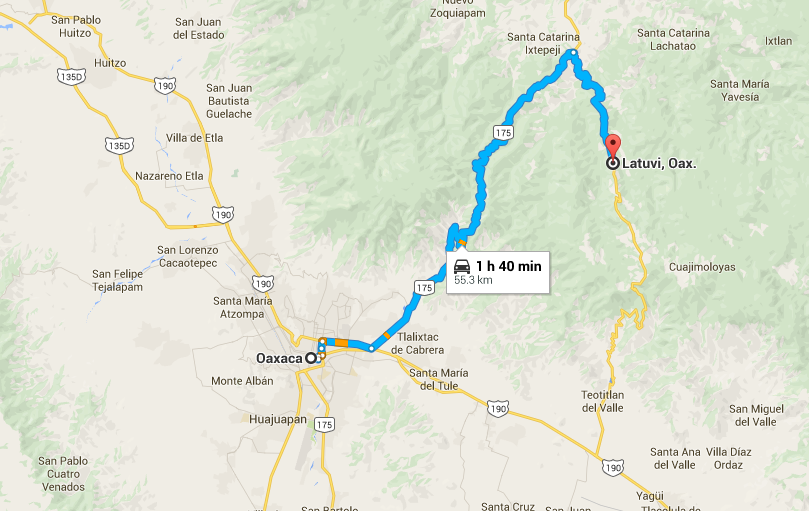 How to get from Oaxaca to Latuvi by bus and taxi