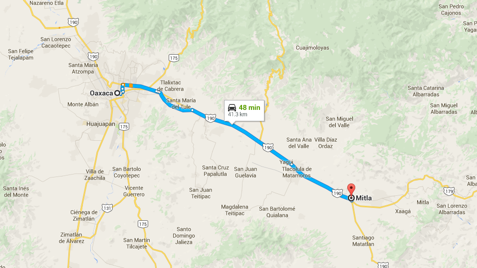 Directions how to get from Oaxaca to Mitla