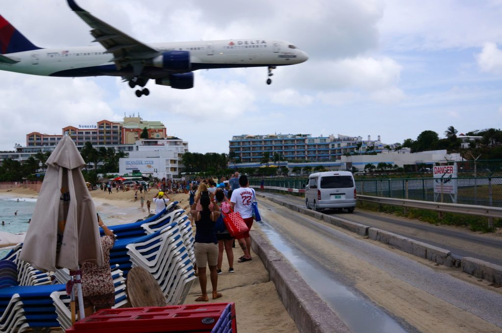 Plane coming into Maho Beach Sint Maarten