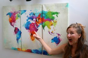Heather is pointing to Africa