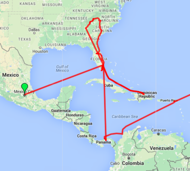 Our route map from Mexico City to Florida to Dominican Republic to North Carolina back to Florida to Panama to Cartegena and finally to St Maarten