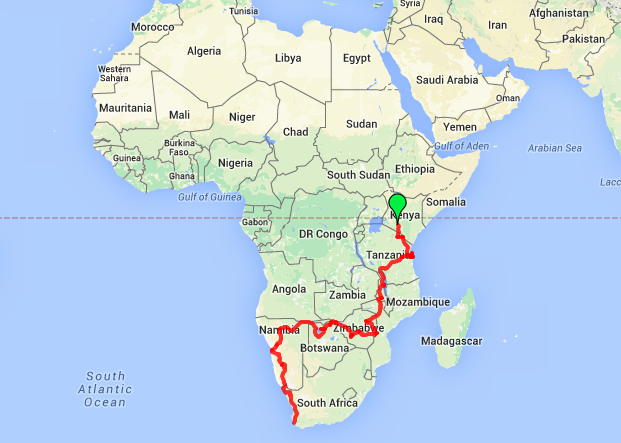 Oasis Overland 56 day safari route map Coast to Coast from Nairobi Kenya to Cape Town South Africa