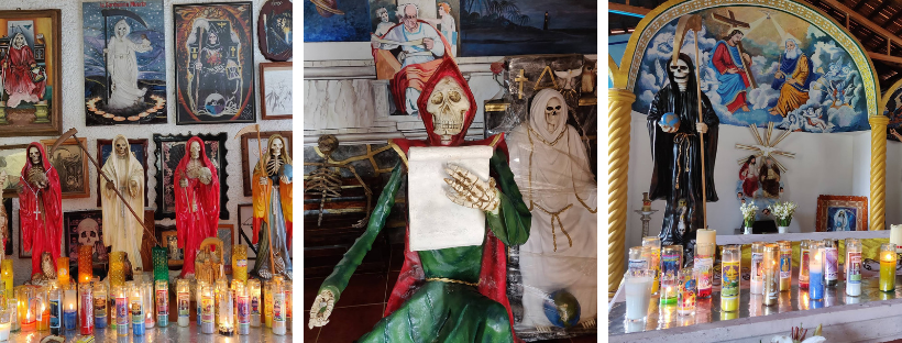 collage of Santa Muerte figures, grim reaper, and candles