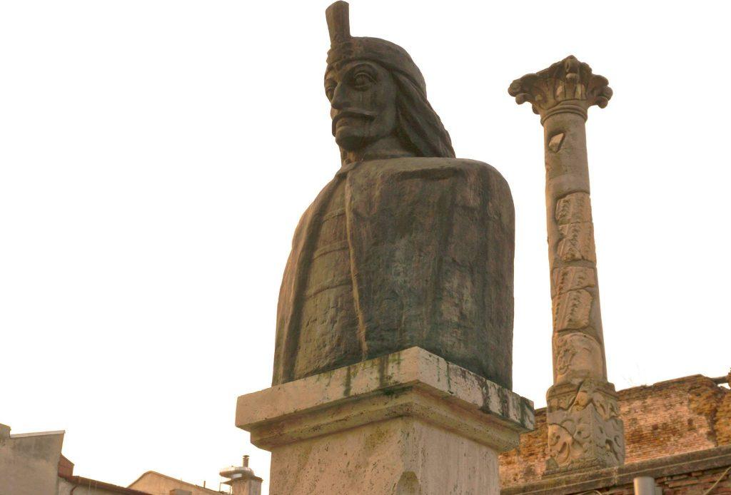 vlad the impaler statue, aka dracula, in bucharest romania