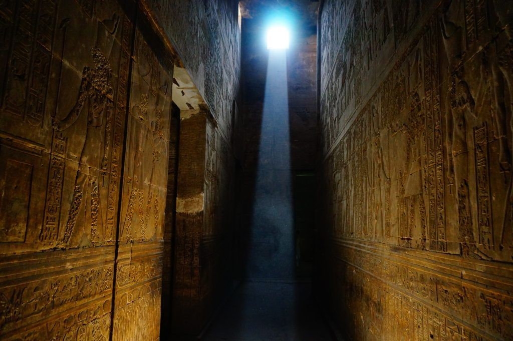 Inside an Egyptian pyramid looking out