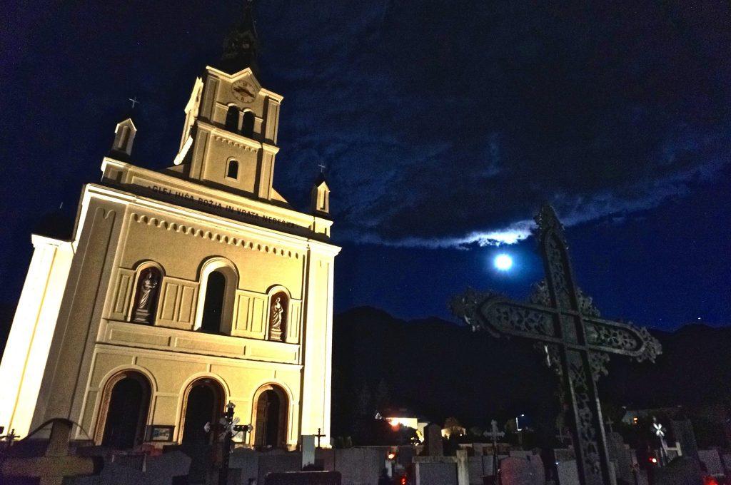 Bohinjska Bistrica Church at Full Moon slovenia