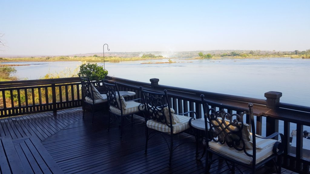 Deck of Royal Livingstone Hotel on Zambezi River is the meeting point for the Devil's Pool Tour (Livingstone Island Tour)