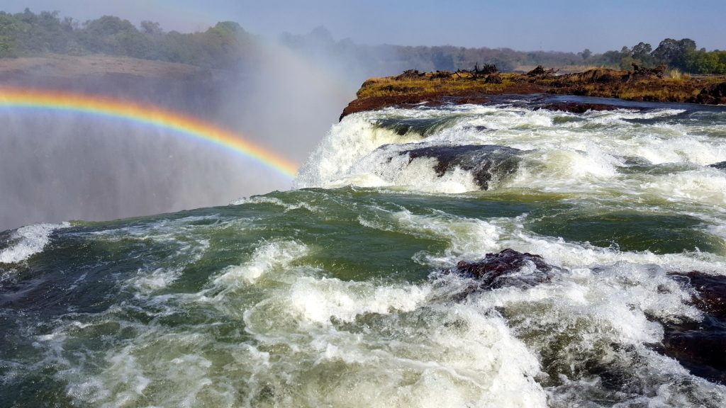 This is the edge of Victoria Falls which is not possible to go to Devil's Pool Victoria Falls