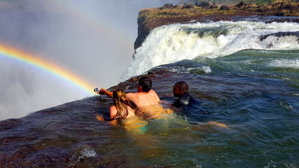 Using a GoPro Camera to capture photos and video at Devil's Pool Victoria Falls