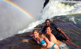 Showing how to visit Devil's Pool Victoria Falls - lay right down on the edge of the waterfall!