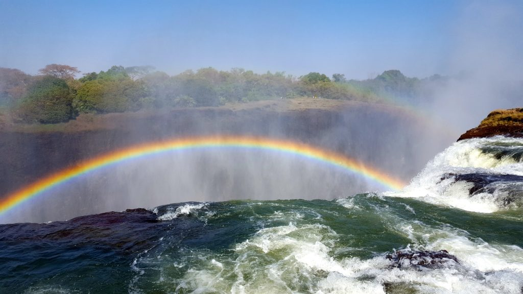 What's the best time to go to Devil's Pool Victoria Falls? In the morning with rainbows!