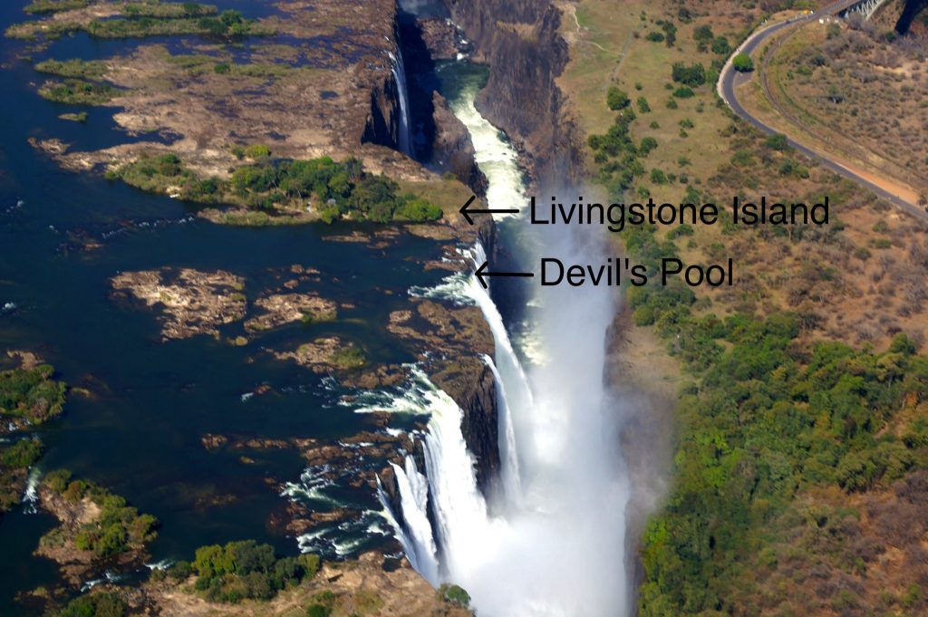 Areal shot of Victoria Falls showing Livingstone Island and Devil's Pool Victoria Falls location