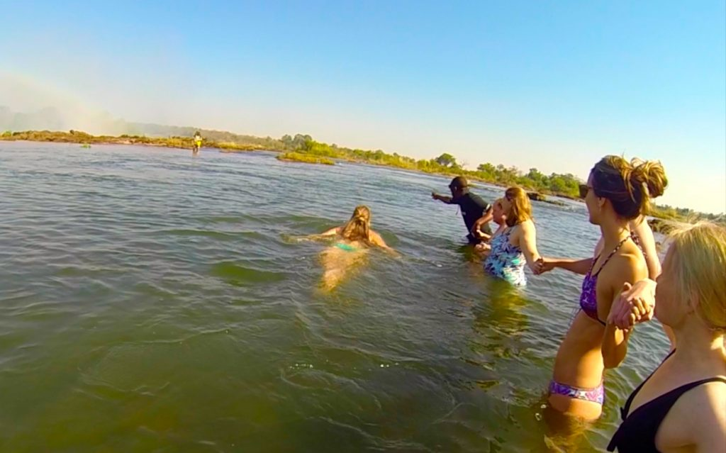 Swimming in the Zambezi River to Get to Devil's Pool