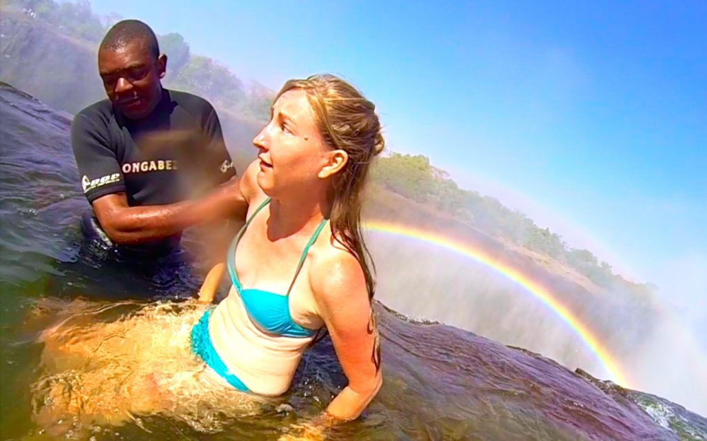 Scared in Devil's Pool Victoria Falls