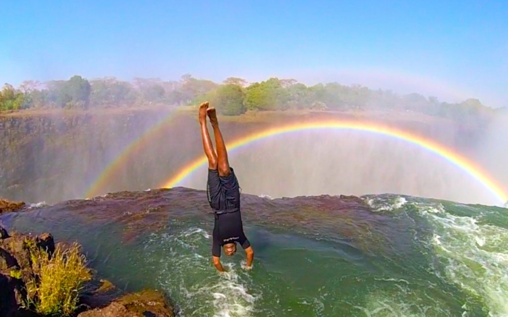 Jumping into Devil's Pool Victoria Falls