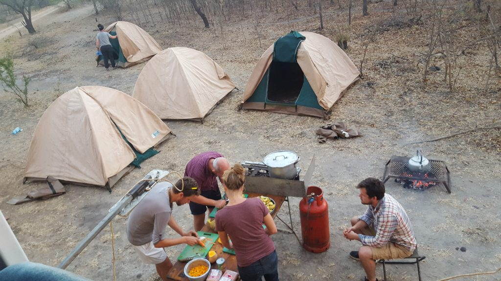 Cooking dinner at Camp in Africa