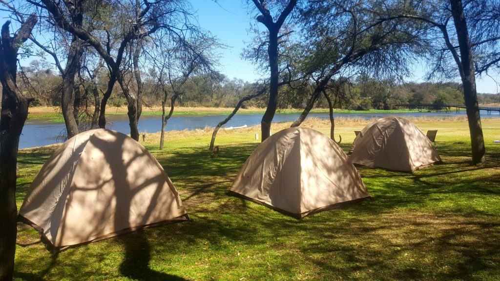 Tents at campgrounds in Antelope Park Zimbabwe during Oasis Overland Coast to Coast Nairobi to Cape Town trip