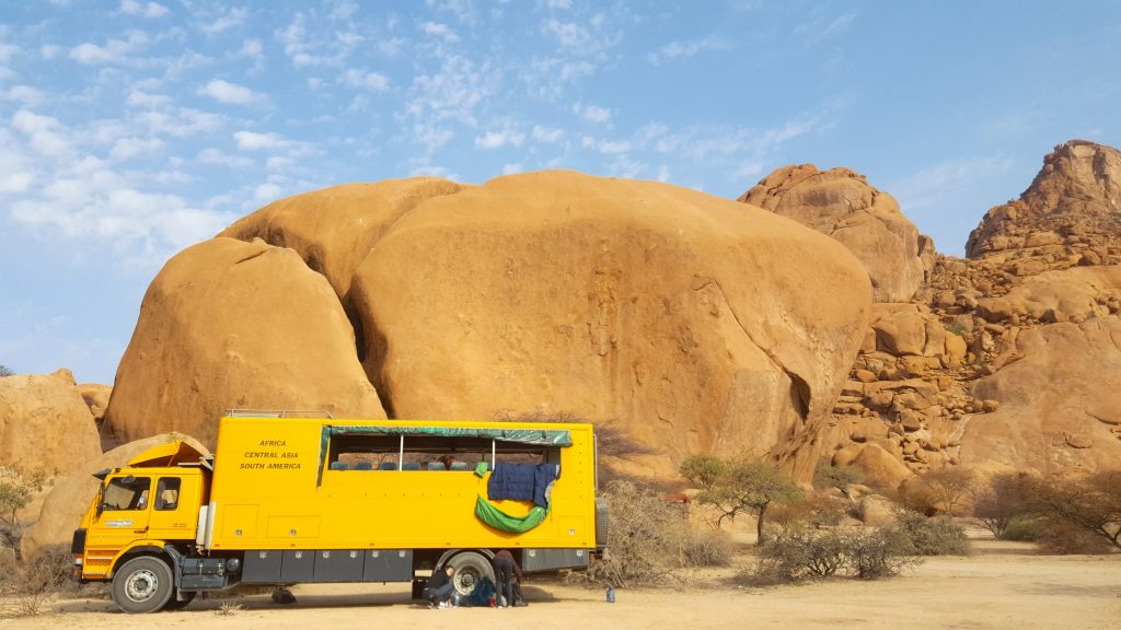 Oasis Overland truck at Spitzkoppe Namibia