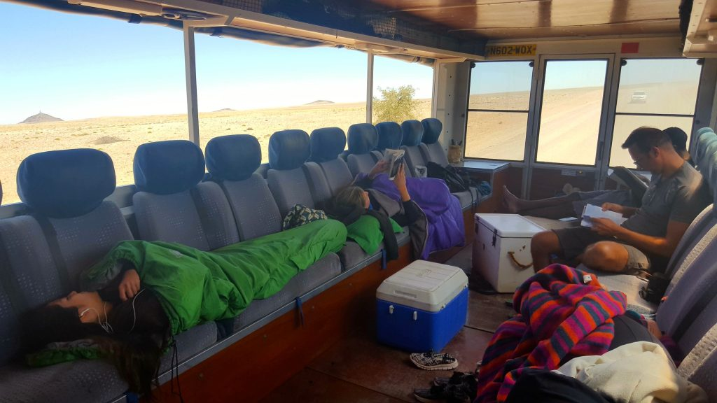 Sleeping on the Oasis Overland truck Coast to Coast Nairobi to Cape Town
