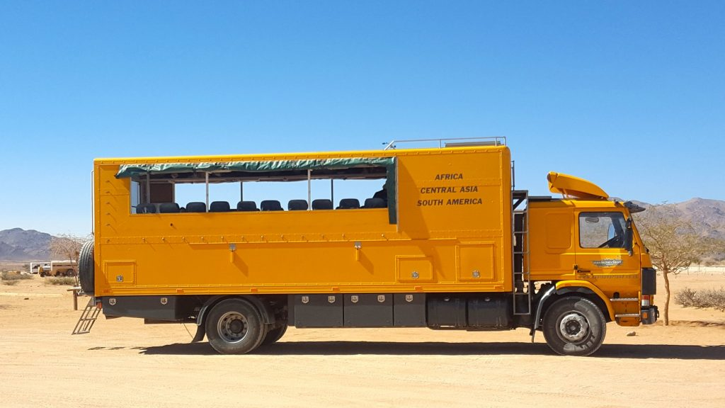 Oasis Overland truck on the Namib Desert Namibia