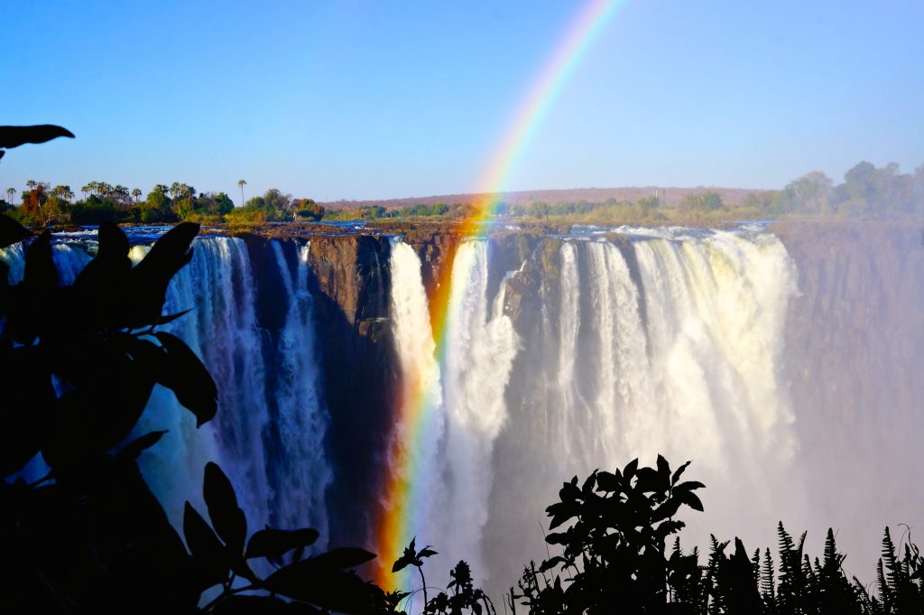 Victoria Falls with rainbow Zambia