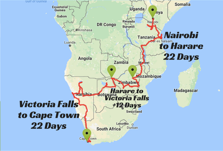 Oasis Oasis Overland route map Nairobi to Harare to Victoria Falls to Cape Town